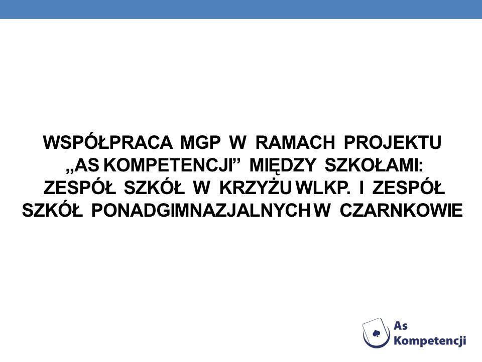 """Współpraca MGP w ramach projektu """"As kompetencji między szkołami: Zespół szkół w Krzyżu Wlkp."""