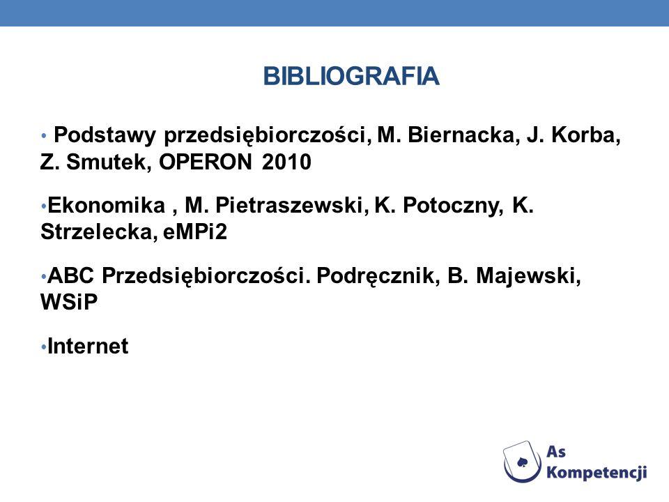 Bibliografia Podstawy przedsiębiorczości, M. Biernacka, J. Korba, Z. Smutek, OPERON 2010.