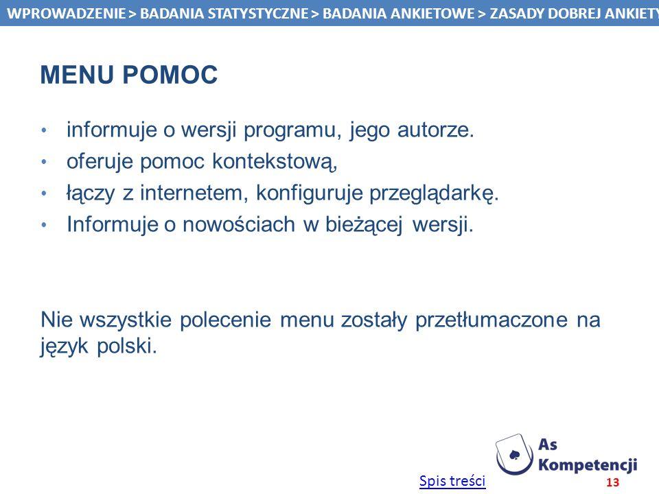 Menu pomoc informuje o wersji programu, jego autorze.