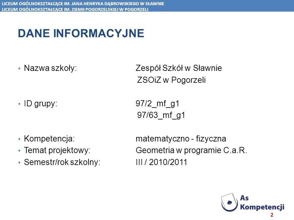 Dane INFORMACYJNE Nazwa szkoły: Zespół Szkół w Sławnie