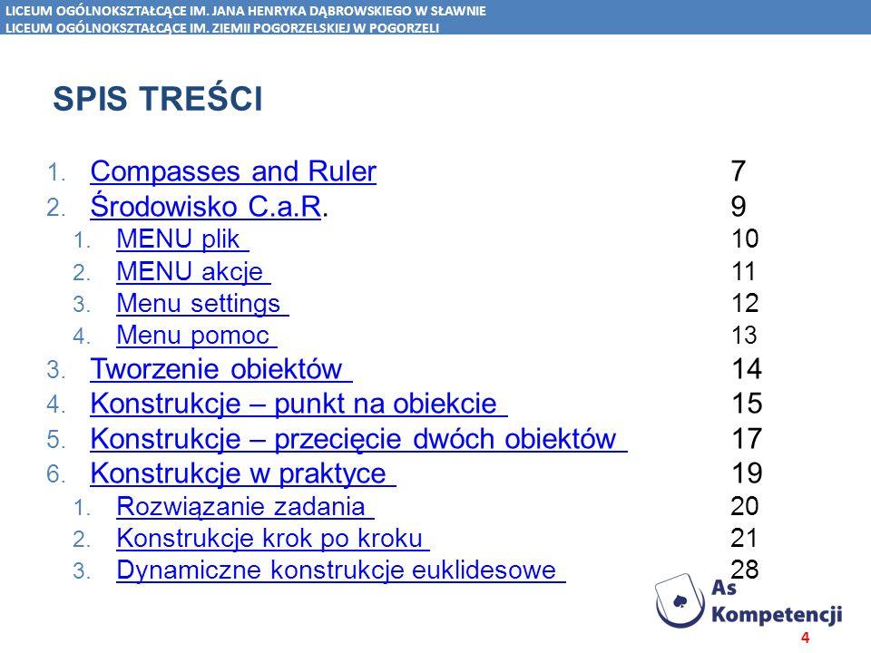 Spis treści Compasses and Ruler 7 Środowisko C.a.R. 9
