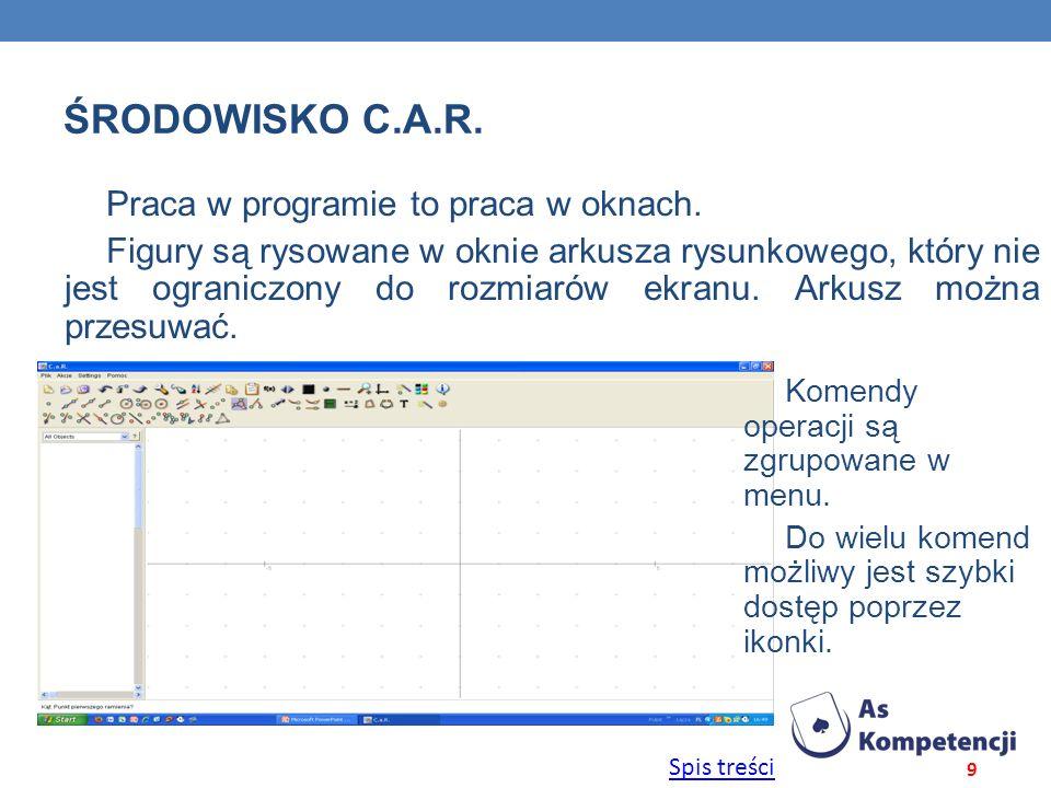 Środowisko C.a.R. Praca w programie to praca w oknach.