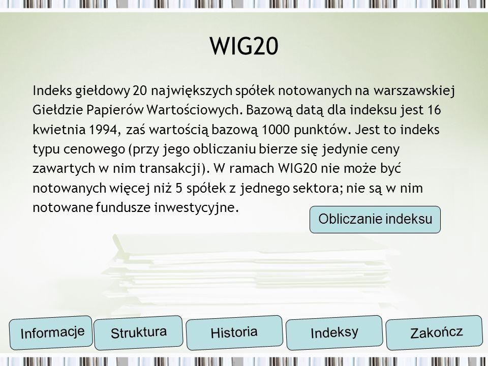 WIG20 Indeks giełdowy 20 największych spółek notowanych na warszawskiej. Giełdzie Papierów Wartościowych. Bazową datą dla indeksu jest 16.