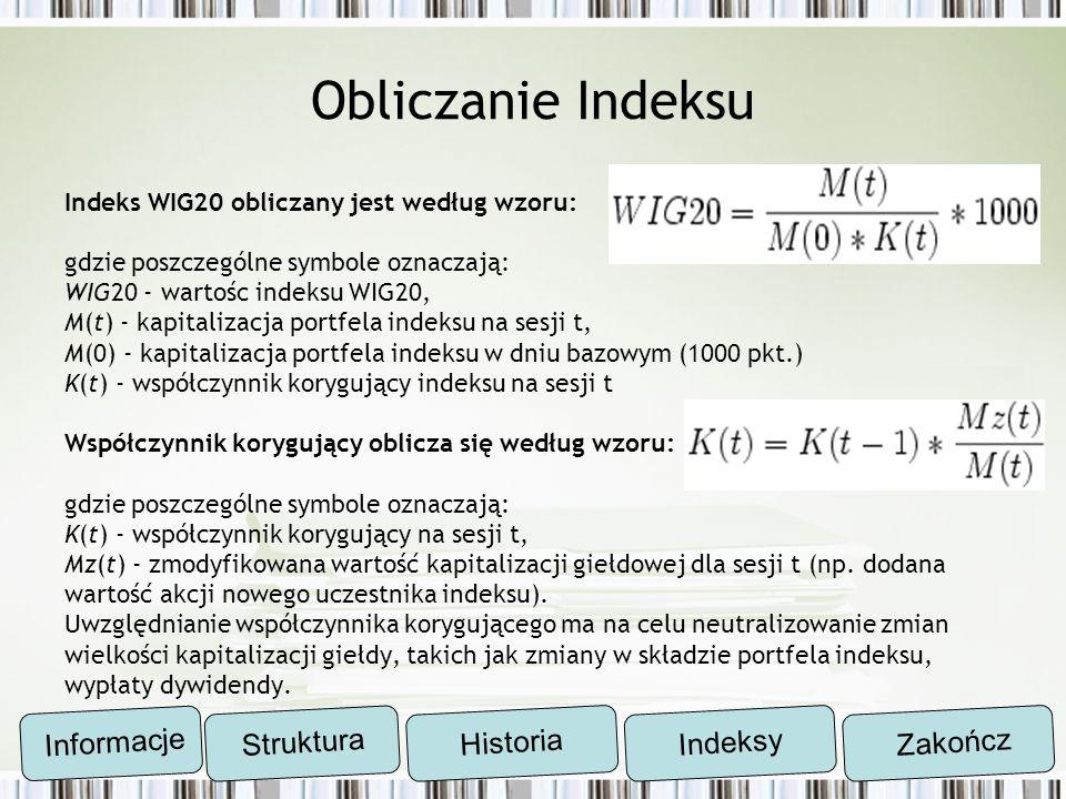Obliczanie Indeksu Informacje Struktura Historia Indeksy Zakończ