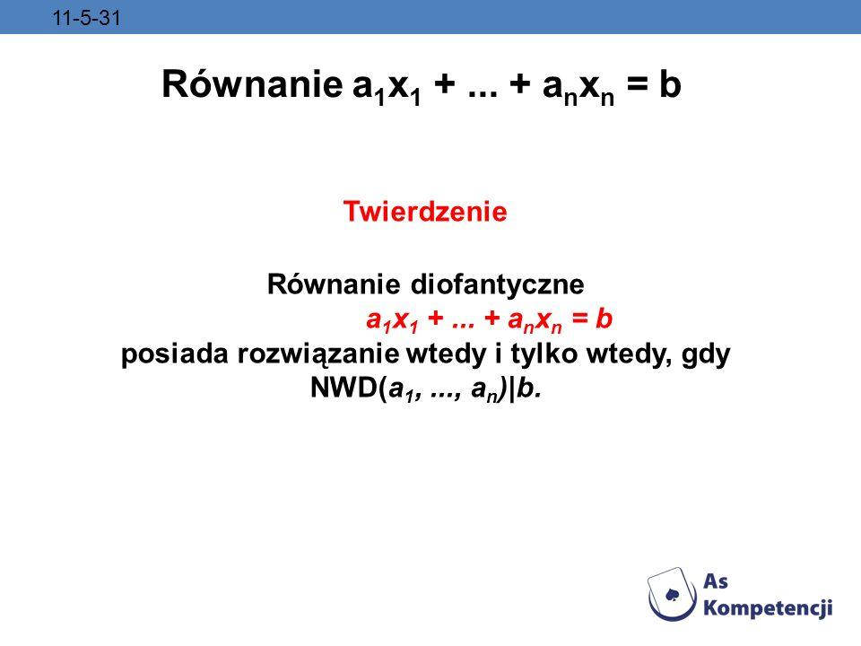 Równanie diofantyczne posiada rozwiązanie wtedy i tylko wtedy, gdy