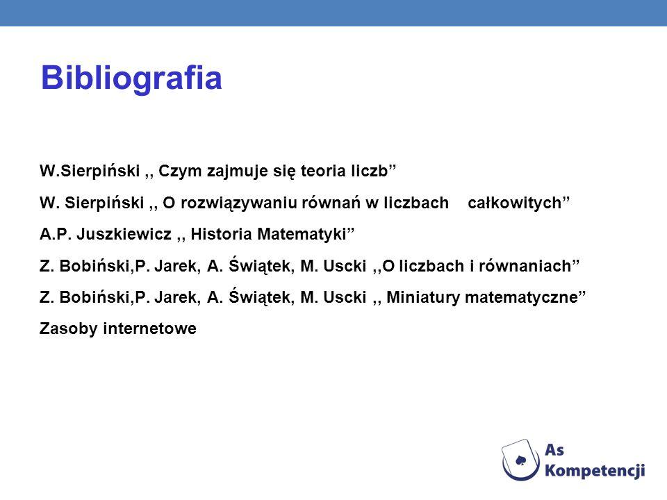 Bibliografia W.Sierpiński ,, Czym zajmuje się teoria liczb