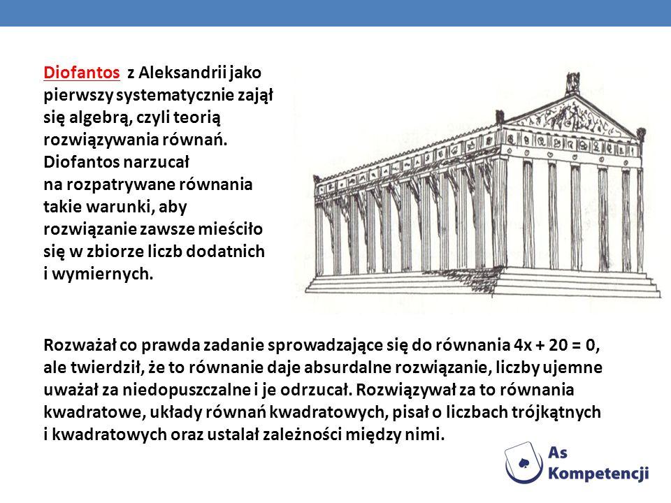 Diofantos z Aleksandrii jako pierwszy systematycznie zajął się algebrą, czyli teorią rozwiązywania równań. Diofantos narzucał na rozpatrywane równania takie warunki, aby rozwiązanie zawsze mieściło się w zbiorze liczb dodatnich i wymiernych.