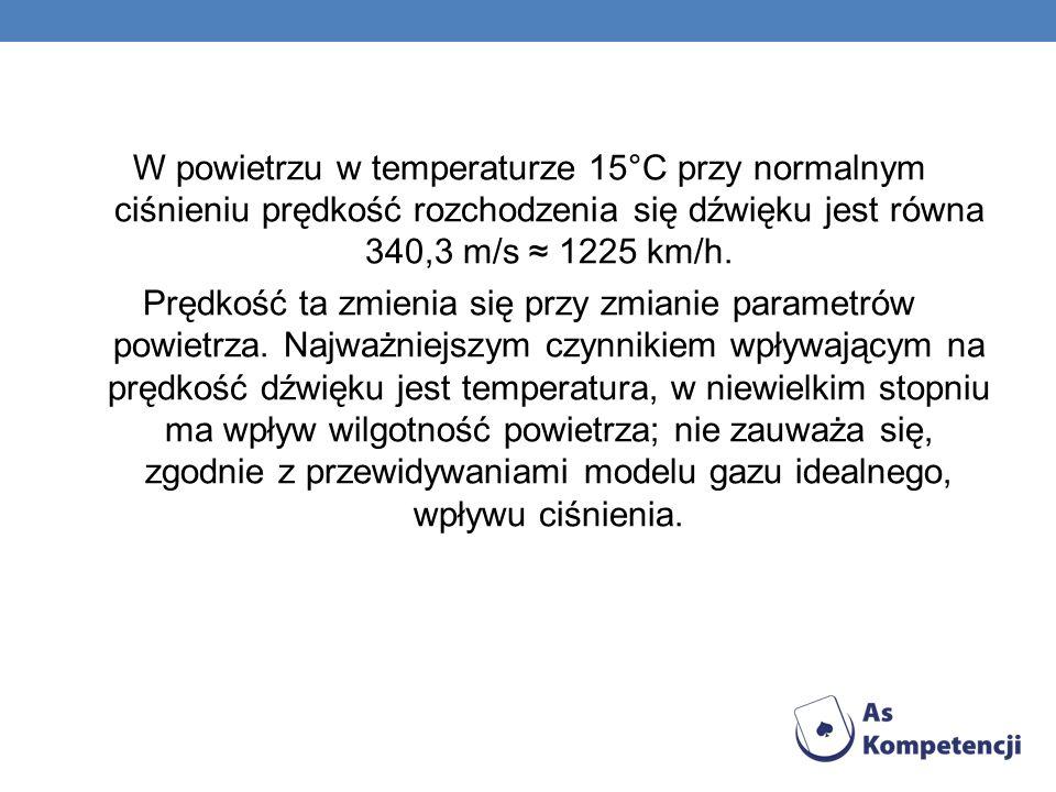 W powietrzu w temperaturze 15°C przy normalnym ciśnieniu prędkość rozchodzenia się dźwięku jest równa 340,3 m/s ≈ 1225 km/h.