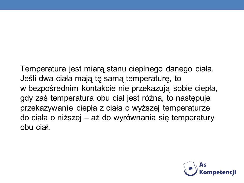 Temperatura jest miarą stanu cieplnego danego ciała
