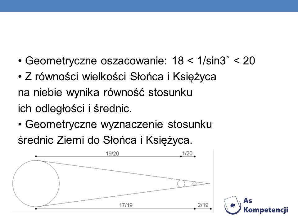 • Geometryczne oszacowanie: 18 < 1/sin3˚ < 20 • Z równości wielkości Słońca i Księżyca na niebie wynika równość stosunku ich odległości i średnic.