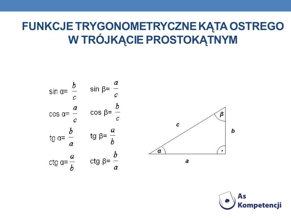 Funkcje trygonometryczne kąta ostrego w trójkącie prostokątnym
