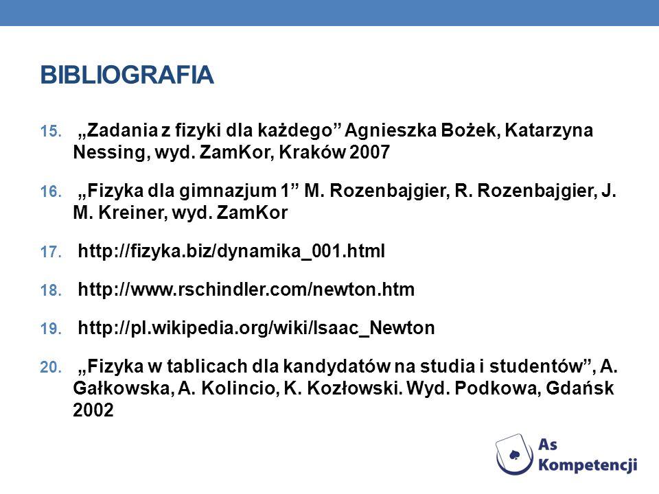 """BIBLIOGRAFIA """"Zadania z fizyki dla każdego Agnieszka Bożek, Katarzyna Nessing, wyd. ZamKor, Kraków 2007."""