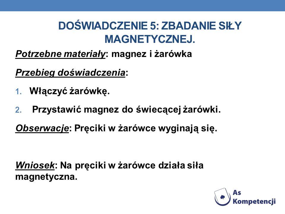 DOŚWIADCZENIE 5: Zbadanie siły magnetycznej.