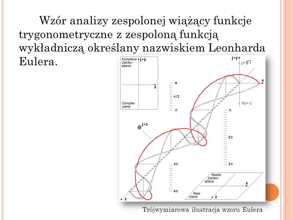 Wzór analizy zespolonej wiążący funkcje trygonometryczne z zespoloną funkcją wykładniczą określany nazwiskiem Leonharda Eulera.
