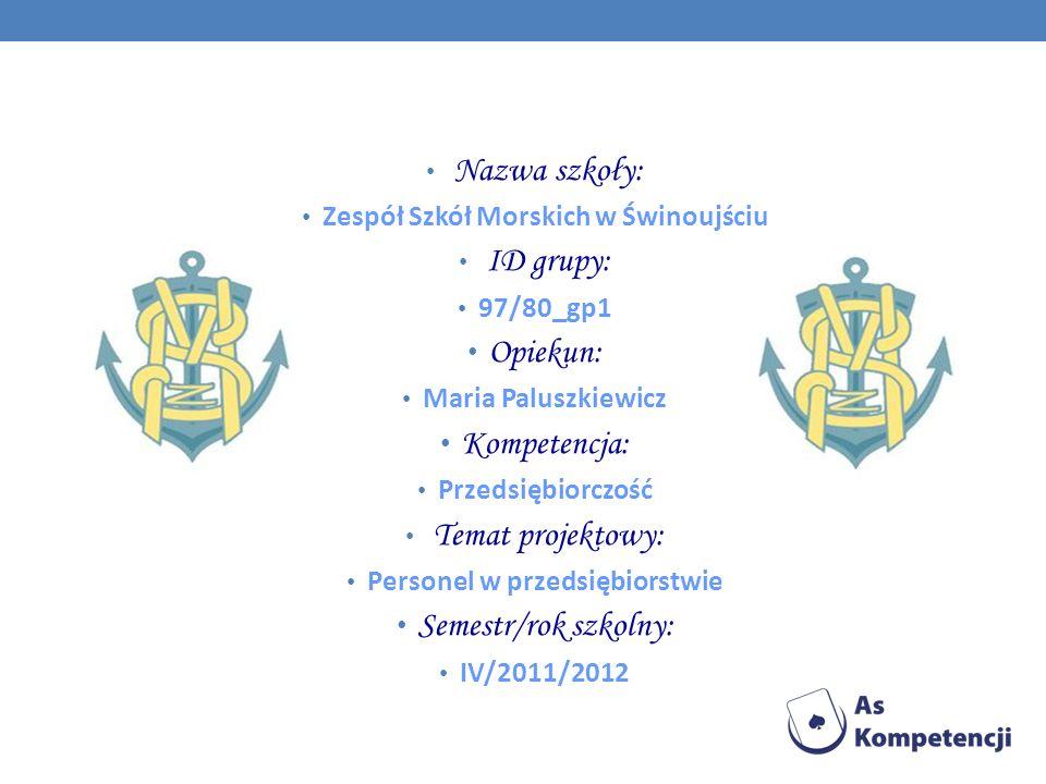 Zespół Szkół Morskich w Świnoujściu Personel w przedsiębiorstwie
