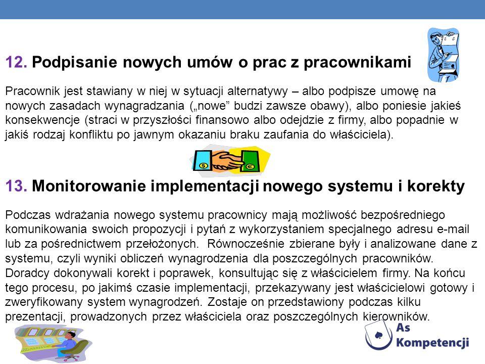 12. Podpisanie nowych umów o prac z pracownikami