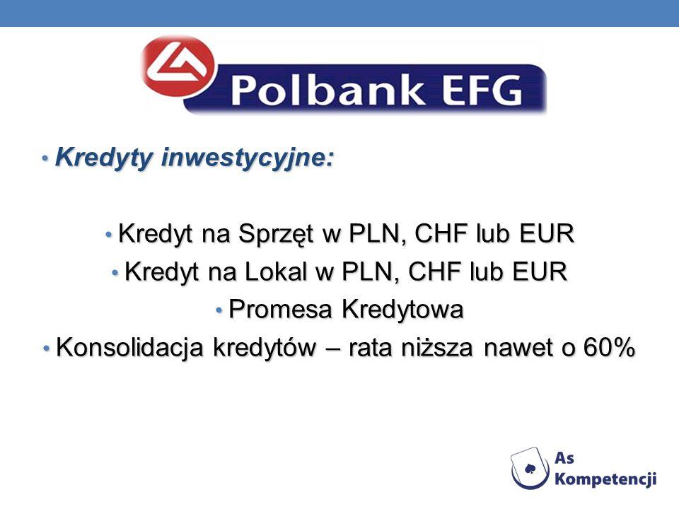 Kredyty inwestycyjne: Kredyt na Sprzęt w PLN, CHF lub EUR