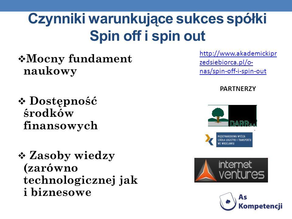 Czynniki warunkujące sukces spółki Spin off i spin out