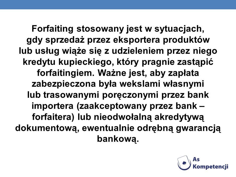 Forfaiting stosowany jest w sytuacjach, gdy sprzedaż przez eksportera produktów lub usług wiąże się z udzieleniem przez niego kredytu kupieckiego, który pragnie zastąpić forfaitingiem.
