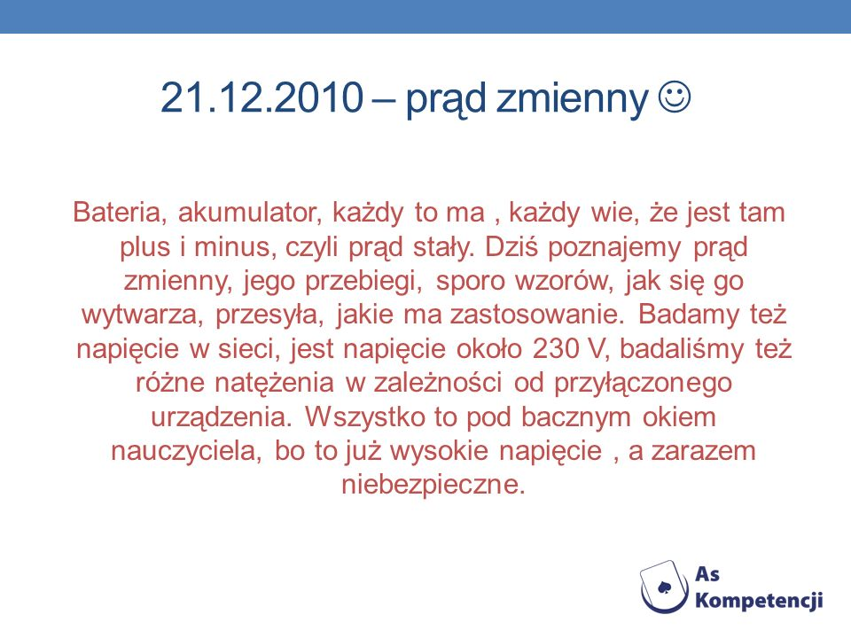 21.12.2010 – prąd zmienny 