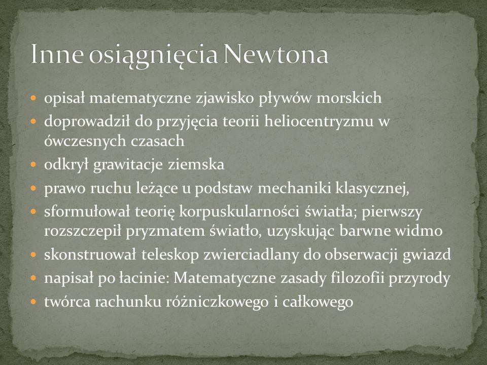 Inne osiągnięcia Newtona