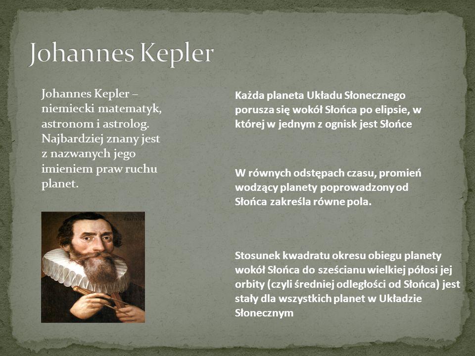 Johannes Kepler Johannes Kepler – niemiecki matematyk, astronom i astrolog. Najbardziej znany jest z nazwanych jego imieniem praw ruchu planet.