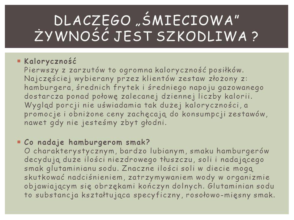 """DLACZEGO """"ŚMIECIOWA ŻYWNOŚĆ JEST SZKODLIWA"""
