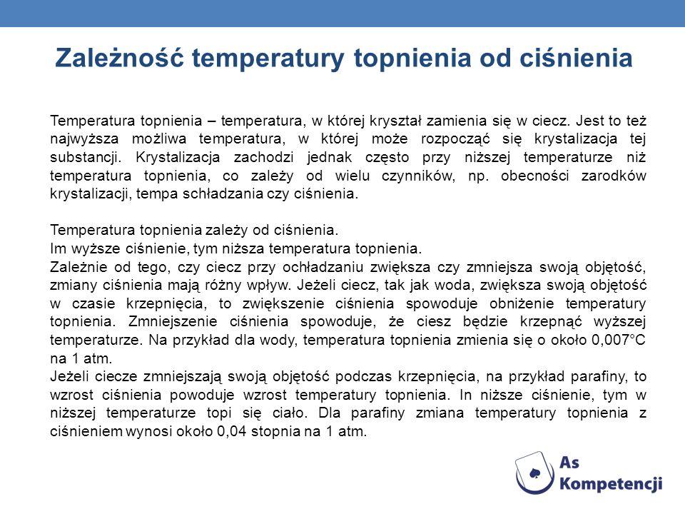 Zależność temperatury topnienia od ciśnienia