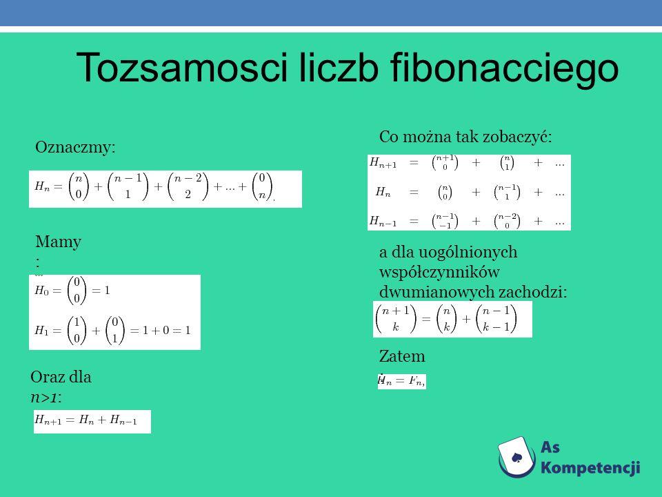 Tozsamosci liczb fibonacciego