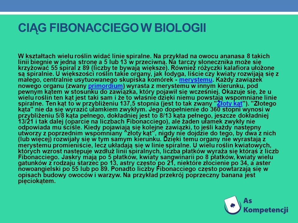 Ciąg Fibonacciego w biologii