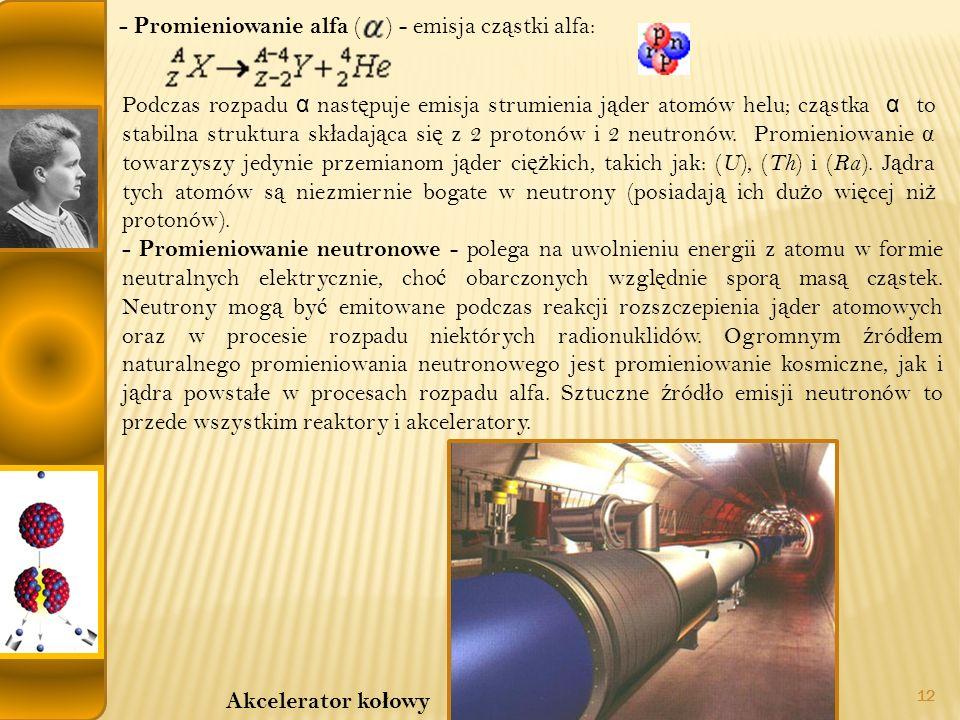 - Promieniowanie alfa ( ) - emisja cząstki alfa: