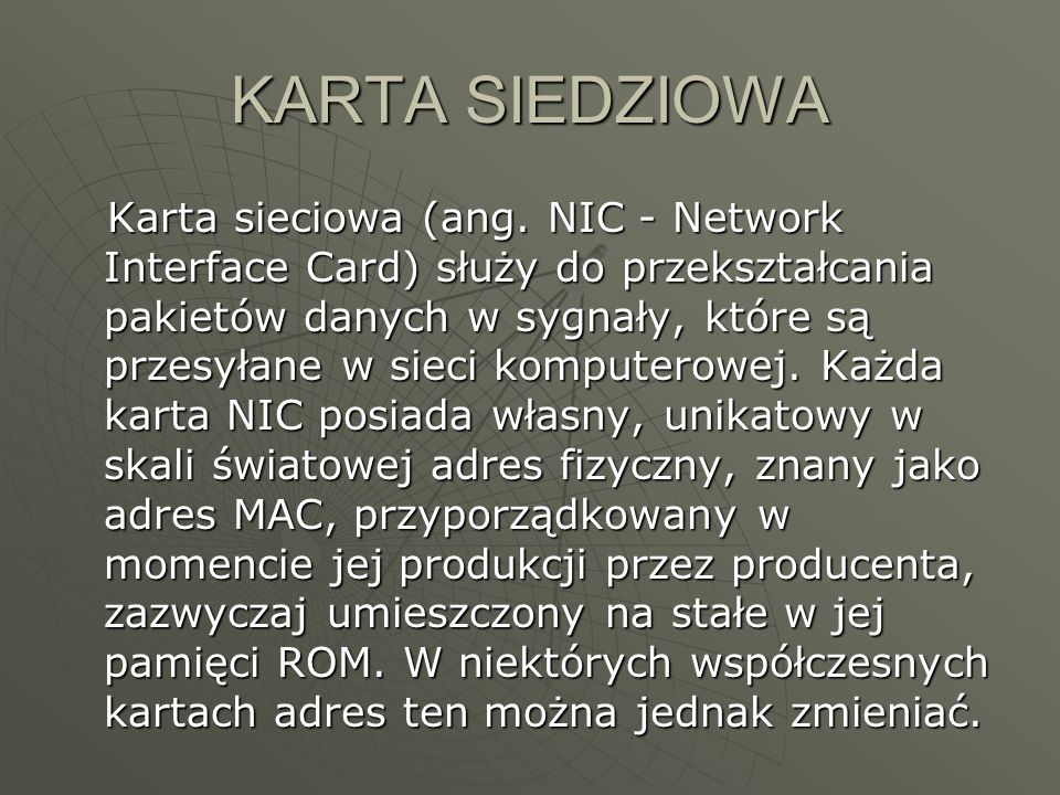 KARTA SIEDZIOWA