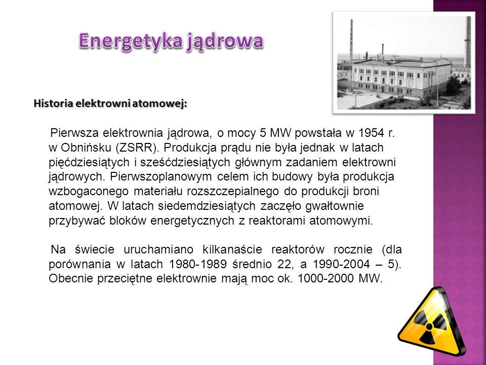 Energetyka jądrowa Historia elektrowni atomowej: