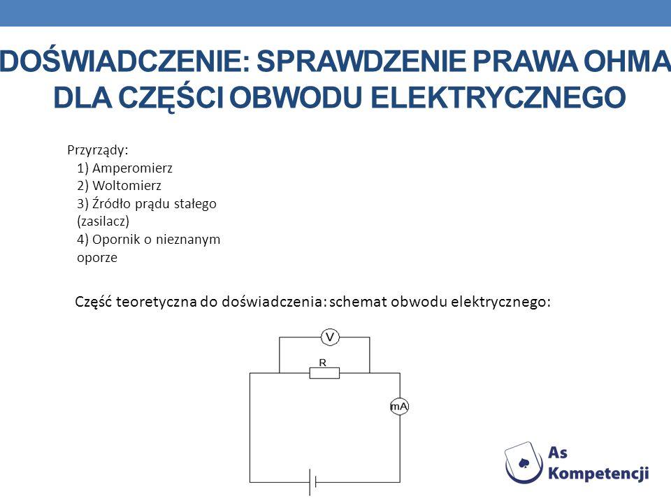 Doświadczenie: sprawdzenie prawa Ohma dla części obwodu elektrycznego