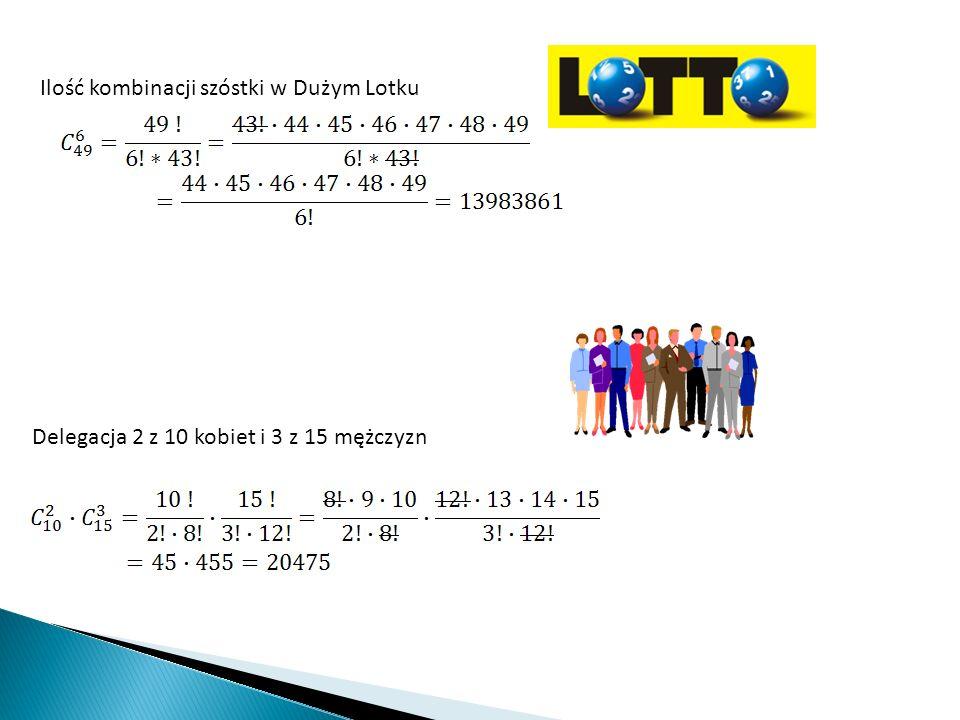 Ilość kombinacji szóstki w Dużym Lotku