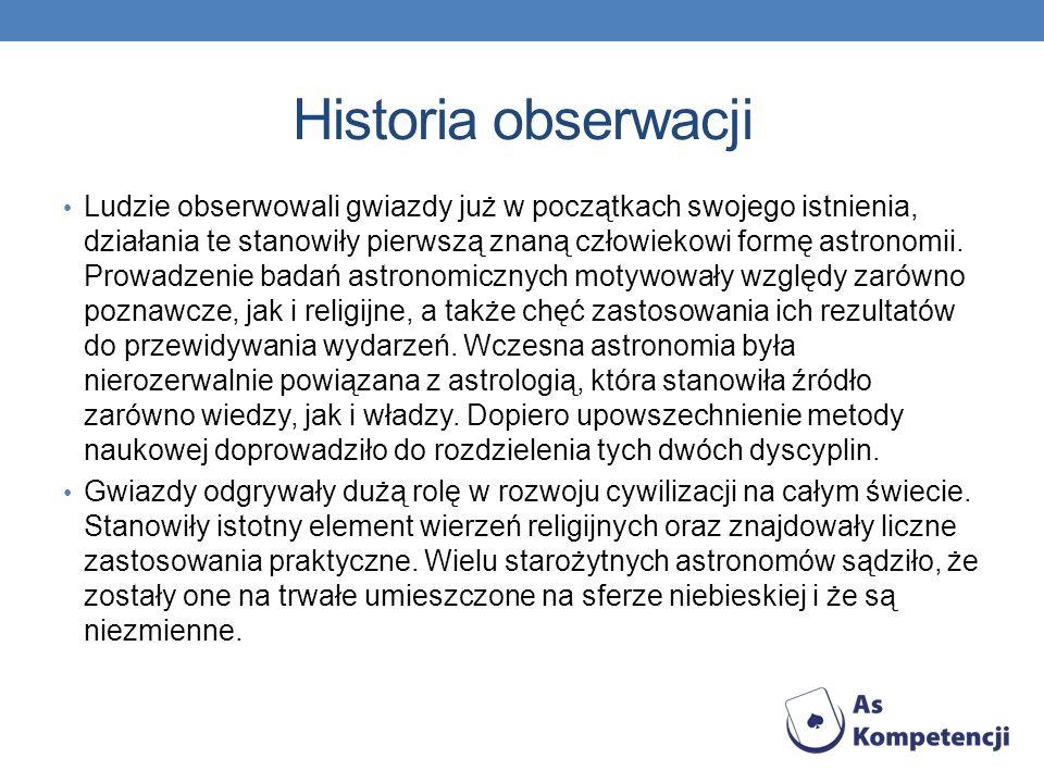 Historia obserwacji