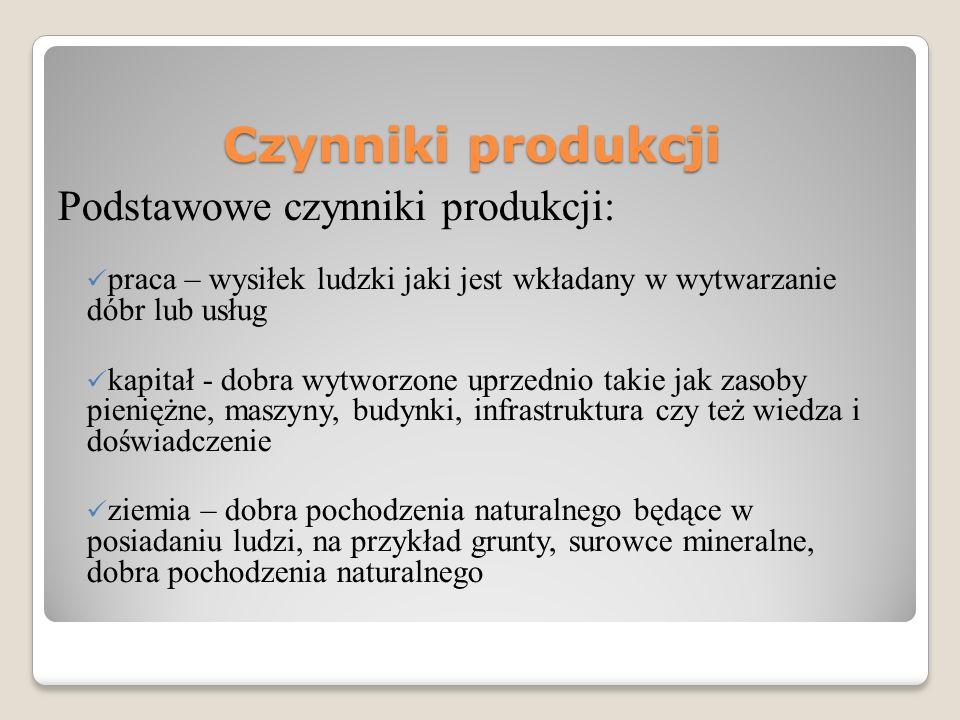 Czynniki produkcji Podstawowe czynniki produkcji: