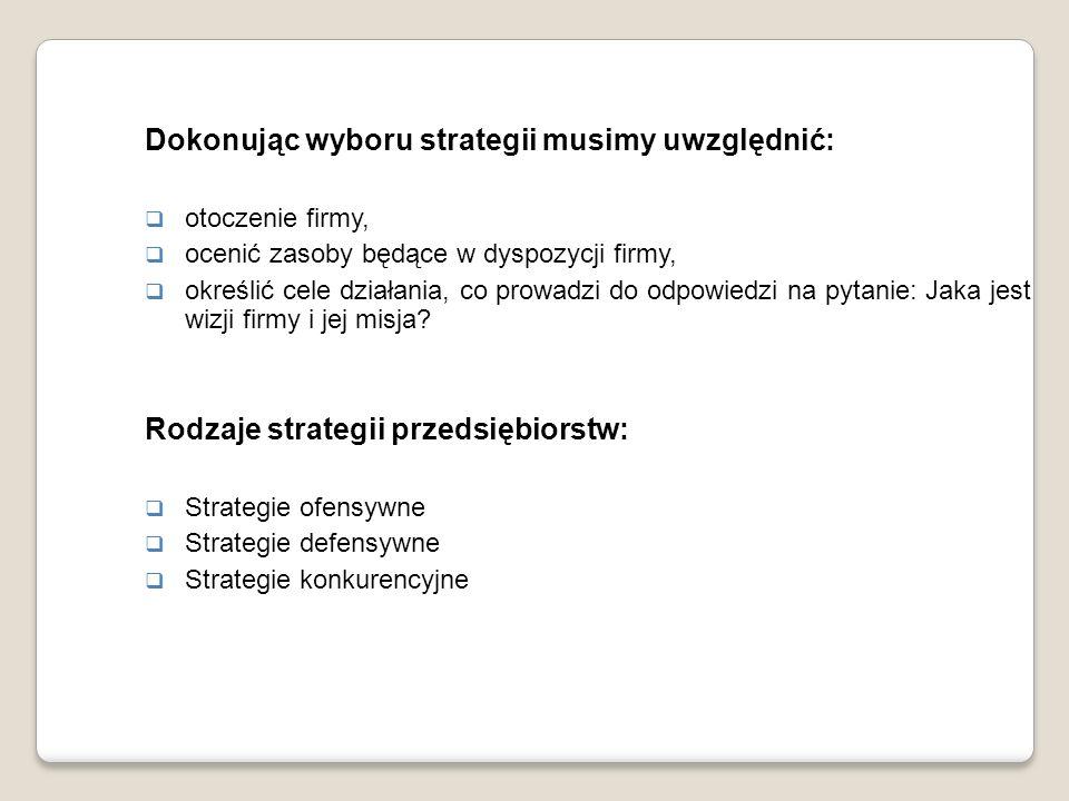 Dokonując wyboru strategii musimy uwzględnić:
