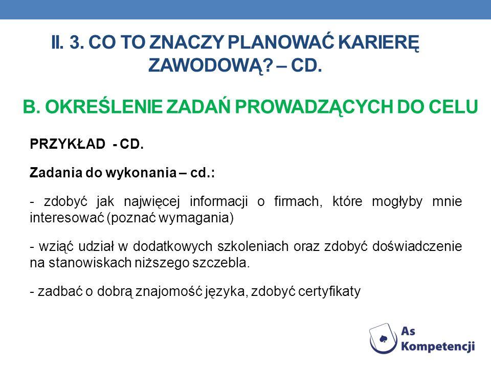II. 3. Co to znaczy planować karierę zawodową – cd.