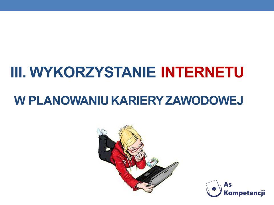 III. Wykorzystanie internetu w planowaniu kariery zawodowej