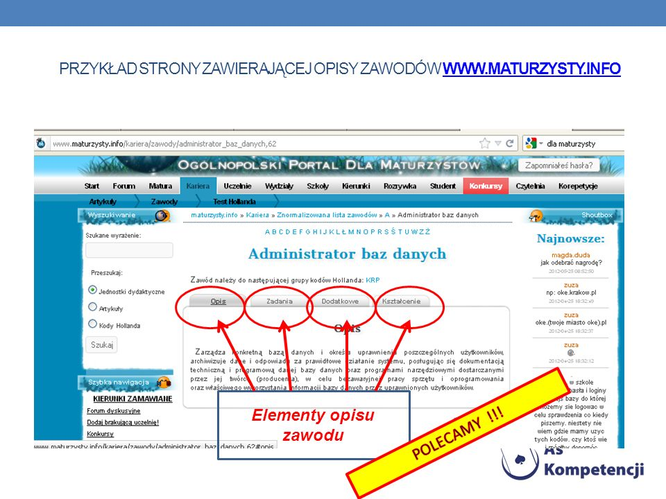 przykład strony zawierającej opisy zawodów www.maturzysty.info