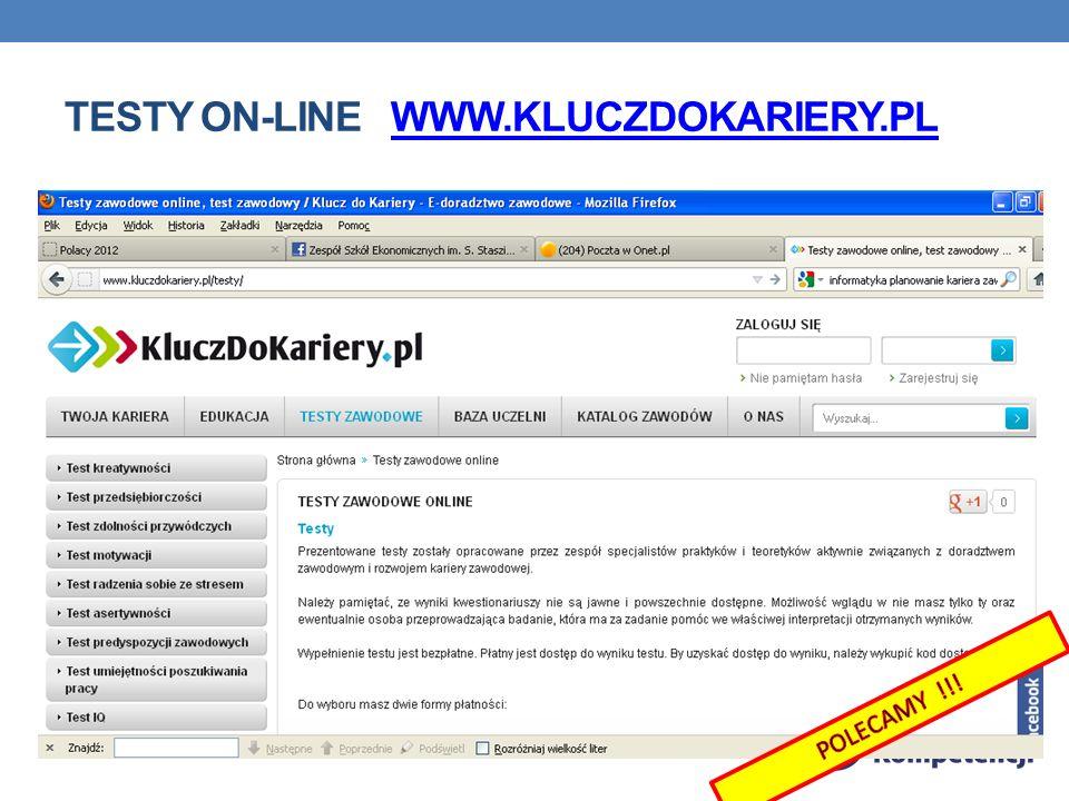 Testy on-line www.kluczdokariery.pl