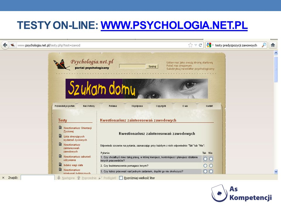 Testy on-line: www.psychologia.net.pl