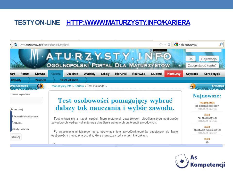 Testy on-line http://www.maturzysty.info/kariera