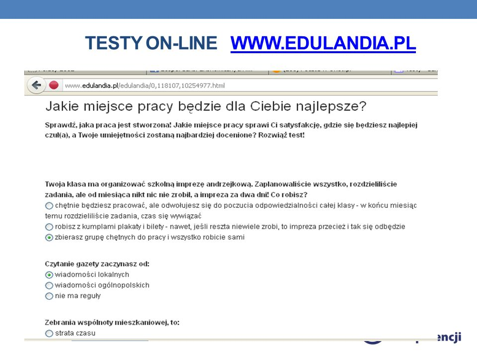 Testy on-line www.edulandia.pl