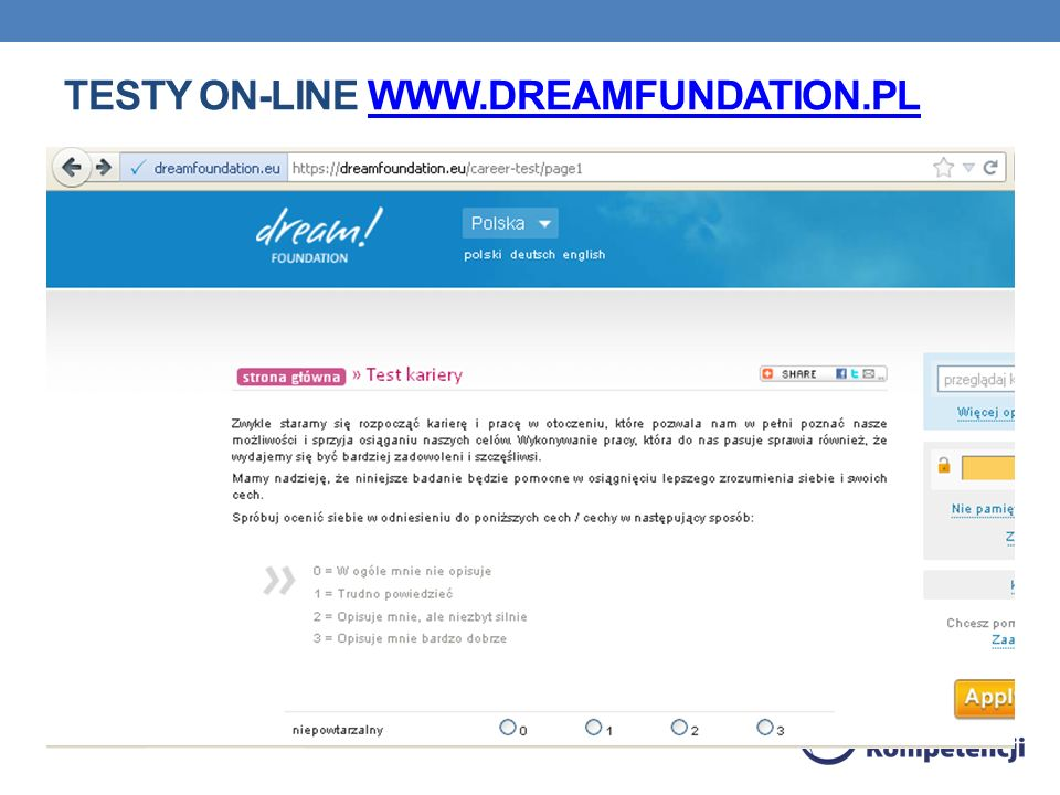 Testy on-line www.dreamfundation.pl