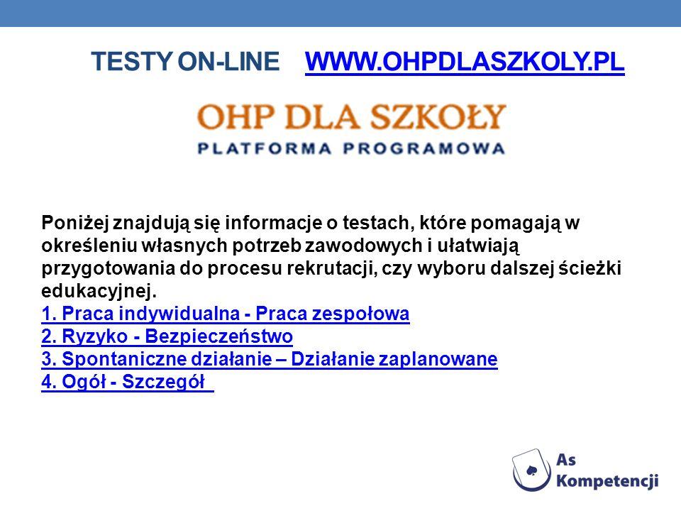 Testy on-line www.ohpdlaszkoly.pl
