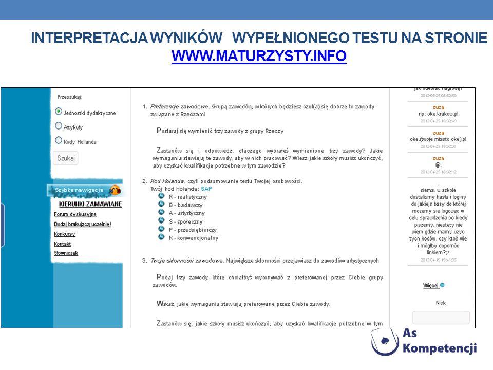 Interpretacja wyników wypełnionego testu na stronie www. maturzysty
