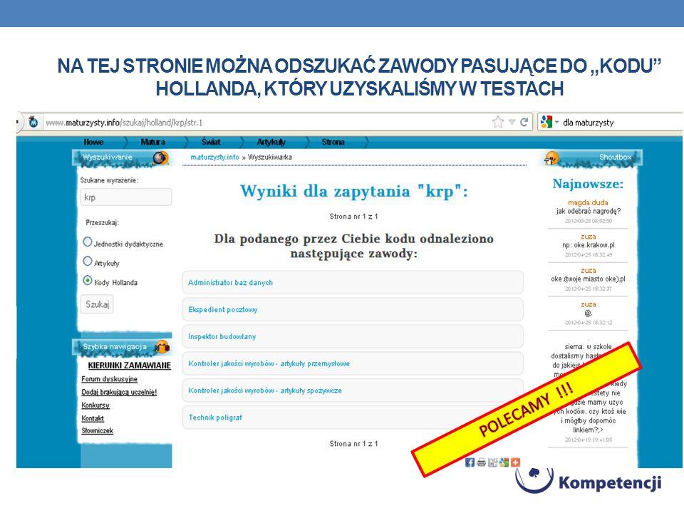 """Na tej stronie można odszukać zawody pasujące do """"kodu Hollanda, który uzyskaliśmy w testach"""