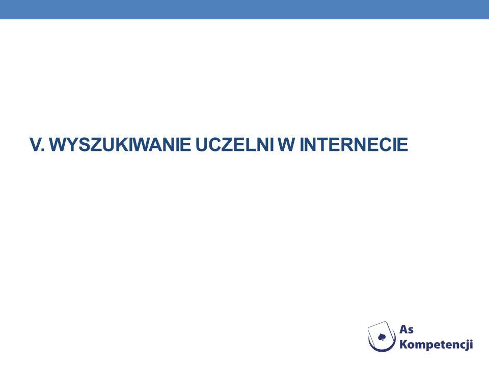 V. Wyszukiwanie uczelni w Internecie
